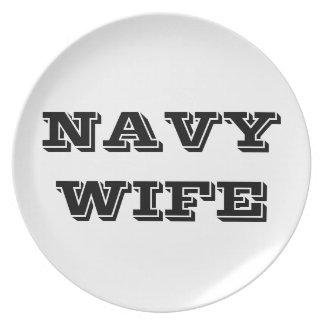 Esposa orgullosa de la marina de guerra de la plac platos para fiestas