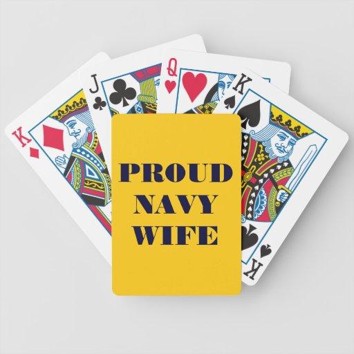 Esposa orgullosa de la marina de guerra de los nai baraja de cartas