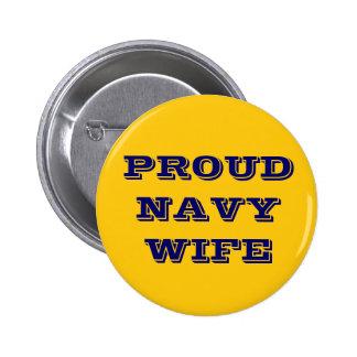 Esposa orgullosa de la marina de guerra del botón pin redondo de 2 pulgadas