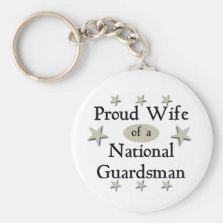 Esposa orgullosa de un soldado de la guardia nacio llavero redondo tipo pin
