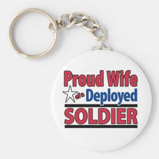 Esposa orgullosa de un soldado desplegado llavero redondo tipo pin