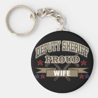 Esposa orgullosa del ayudante del sheriff llavero redondo tipo pin