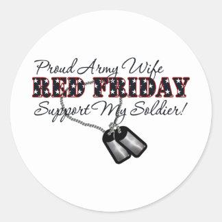 Esposa orgullosa del ejército (apoye a mi soldado) pegatina redonda