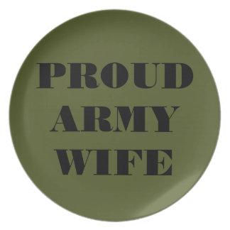 Esposa orgullosa del ejército de la placa platos para fiestas