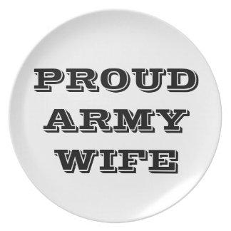 Esposa orgullosa del ejército de la placa plato de cena