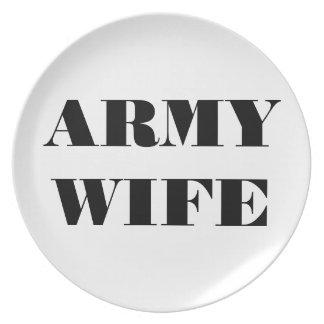Esposa orgullosa del ejército de la placa platos de comidas
