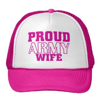 Esposa orgullosa del ejército gorro de camionero