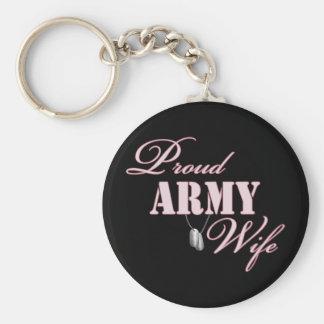 Esposa orgullosa del ejército llaveros personalizados
