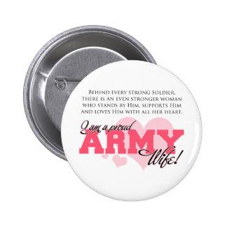 Esposa orgullosa del ejército pin redondo 5 cm