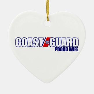 Esposa orgullosa del guardacostas adorno de cerámica en forma de corazón
