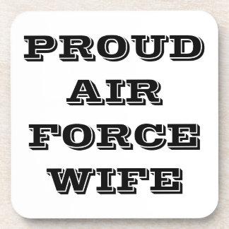 Esposa orgullosa determinada de la fuerza aérea de posavasos