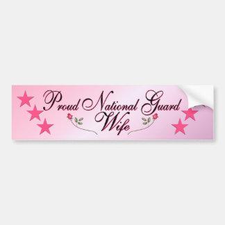 Esposa rosada y orgullosa del Guardia Nacional Etiqueta De Parachoque