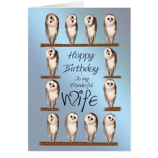 Esposa, tarjeta de cumpleaños curiosa de los búhos