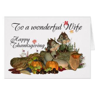 Esposa, tarjeta linda de la acción de gracias con