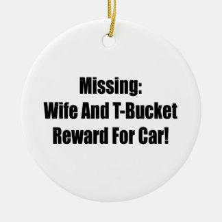 Esposa y recompensa que falta de Tbucket por coche Adorno Navideño Redondo De Cerámica