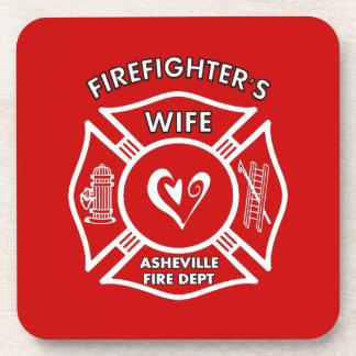 Esposas del bombero del departamento del fuego de posavaso