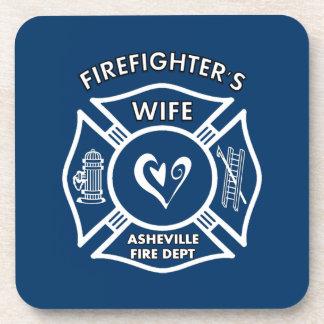 Esposas del bombero del departamento del fuego de  posavasos
