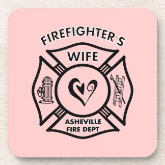 Esposas del bombero del departamento del fuego de  posavasos de bebida