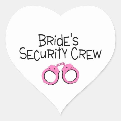 Esposas del rosa del equipo de la seguridad de las pegatinas corazon