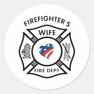 Esposas los E.E.U.U. del bombero Pegatina Redonda