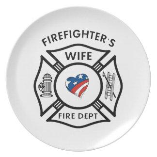 Esposas los E.E.U.U. del bombero Platos