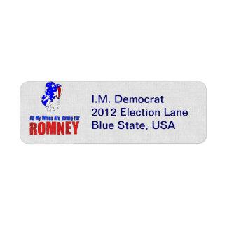 Esposas para Romney Etiqueta De Remite