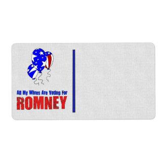 Esposas para Romney Etiquetas De Envío