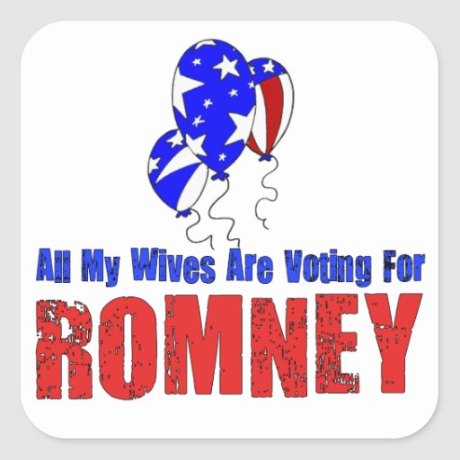 Esposas para Romney Pegatina Cuadrada