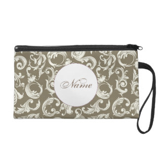 Espresso and White Damask Personalized Clutch Wristlet Purses