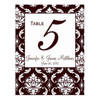 Espresso Brown Damask Wedding Table Number Card