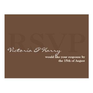 Espresso brown RSVP simple wedding response card