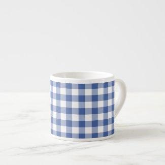 Espresso Coffee Mug, Dark Blue Check Gingham Espresso Mug