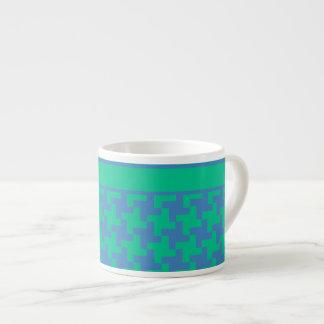 Espresso Coffee Mug, Emerald and Blue Dogtooth Espresso Cup