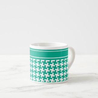 Espresso Coffee Mug, Emerald Green Dogtooth Check Espresso Cup