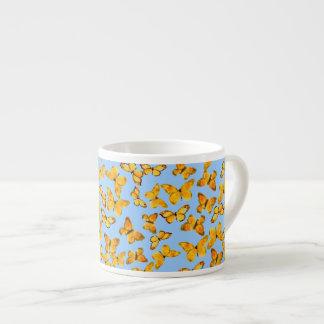 Espresso Coffee Mug, Golden Butterflies on Blue Espresso Cup
