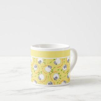 Espresso Coffee Mug: Yellow, Fun Sheep Patterns 6 Oz Ceramic Espresso Cup