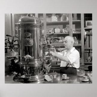 Espresso Coffee Shop, 1942. Vintage Photo Poster
