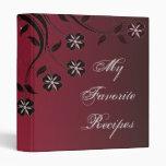 Espresso Crimson Floral Swirl Recipe Book 3 Ring Binder