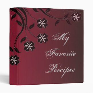 Espresso Crimson Floral Swirl Recipe Book Binder