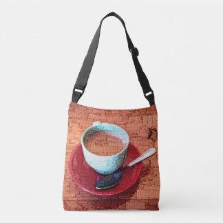 Espresso Cup and Spoon Word Cloud Crossbody Bag