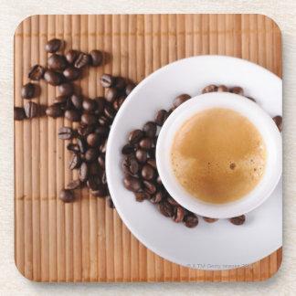 Espresso cup on a mat coaster