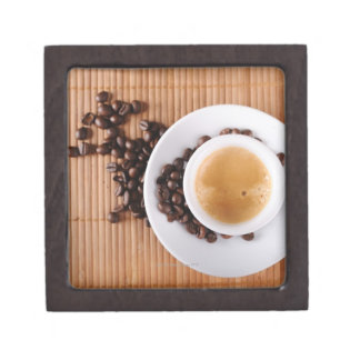 Espresso cup on a mat gift box