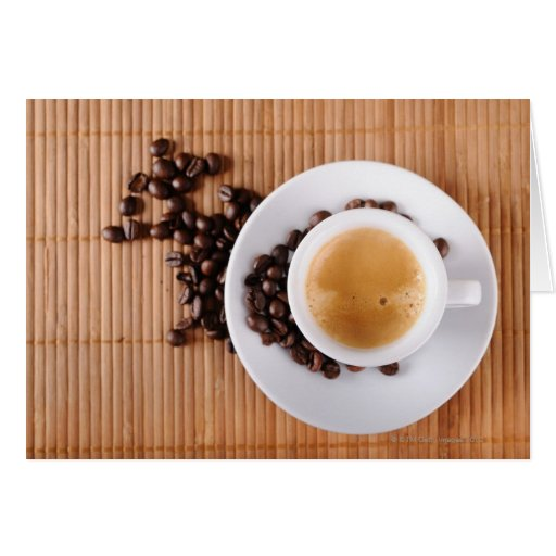 Espresso cup on a mat greeting card