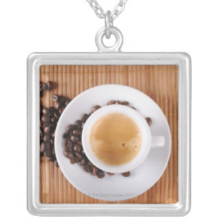 Espresso cup on a mat silver plated necklace