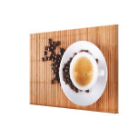Espresso cup on a mat stretched canvas print