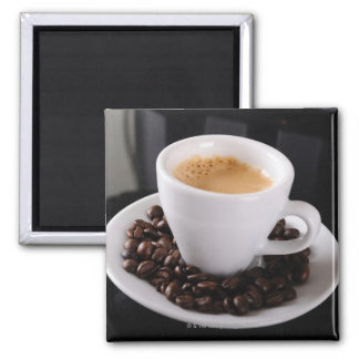 Espresso cup on black granite counter magnet