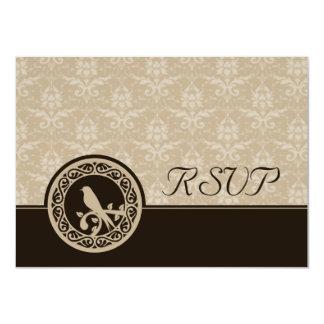 Espresso Lovebird Damask RSVP Card