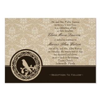 Espresso Lovebird Damask Wedding Invitation