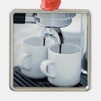Espresso machine making coffee metal ornament