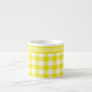 Espresso Mug, Lemon Yellow Check Gingham Espresso Cup